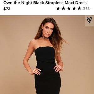 Own the Night Black Strapless Maxi Dress LuLu's